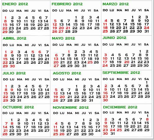 Calendario 2012, para tener el año siempre a mano :) | Soy donde ...